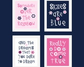 Somewhere Over The Rainbow, Butterfly art,  Pink and Navy  Art Prints  by YassisPlace