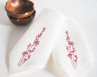 Organic Linen Cloth Napkin/ Red Berries Design/ Set of Two/ Hand Printed/ Christmas Gift Idea/Ready To Ship