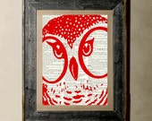 Buy 1 get 1 Free - Owl(version 1) - Printed on a Vintage Dictionary, 8X10, dictionary art, paper art, illustration art, collage