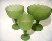 Indiana Glass Teardrop Compote Vases, Satin Green, Small Medium and Large, Wedding Table Setting, Home Decor