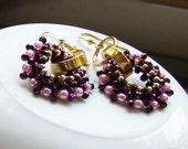 Original Romantic circle earrings made of tiny seed beads Toho with Swarovski rivoli crystal, finished with gold plated hooks.