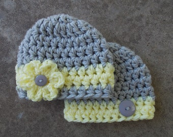 Chunky baby hats - twin hats - boy and girl set - twins photo prop - baby shower gift - bringing baby home - made to order