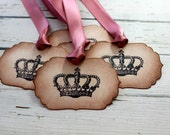 Vintage Inspired Crown Tags - Set of 5 - You choose ribbon color