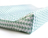 Changing Pad Cover in Mint Triangles- nursery bedding - baby changing station - MINT triangles