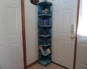 72 in tall custom 2 piece distressed corner shelf