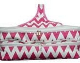 Monogrammed Chevron Double Insulated Casserole carrier Personalized