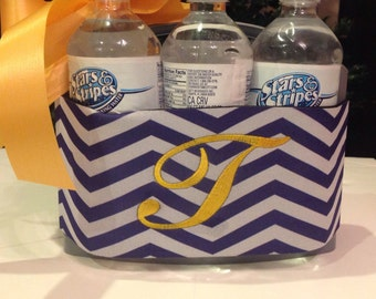 Monogrammed 6 pack purple and white chevron cooler with neoprene band