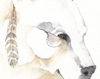 SPIRIT BEAR  watercolor aceo PRINT giclee 'Shaman' - Free Shipping