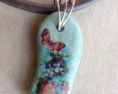 Handmade Necklace Blue River Rock with Vintage Butterfly and Flowers, Brown Leather Cord and Sterling Silver Lobster Clasp
