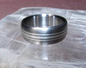 Titanium Silver solstice accent dome Ring