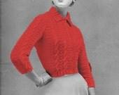 "Vintage Repro Elizabeth Cropped Cardi Knitting Pattern Size 32"" to 36"" Bust PDF Instant Download"