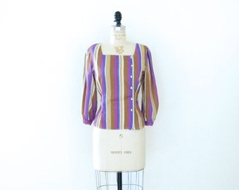 Vintage Blouse // Purple Violet Tan Brown Cream Striped Blouse // Button Up Shirt Top // 80's Blouse - S/M