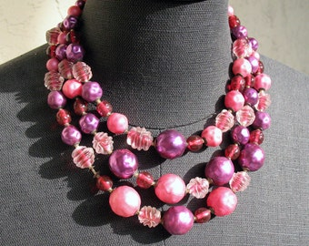 Vintage 1950's Pink and Purple Three-Strand Bead Necklace