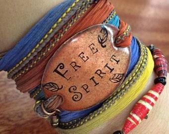 Boho wrap bracelet, FREE SPIRIT, Silk wrap bracelet, Free spirit, Boho Silk Wrap Bracelet, yoga wrap- silk ribbon bracelet-