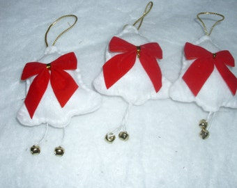 Bell Ornaments With Red Bows and Gold Trim Real Bells Handstitched  Christmas Tree Ornaments