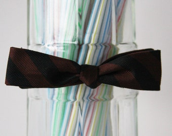 SALE! 50%OFF original price.. Black and Brown Diagonal Stripped Self Tie Bow Tie