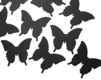 50 Small Black Butterfly die cuts punch scrapbook embellishments - No404