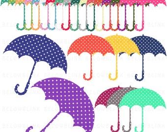 Polka Dot Umbrella Digital Clip Art, Commercial Use - Instant Download - DP264