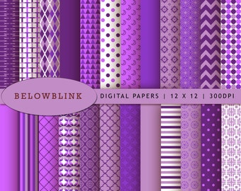 Purple Digital Paper Pack, Scrapbook Papers, 24 jpg files 12 x 12 - Instant Download - DP126