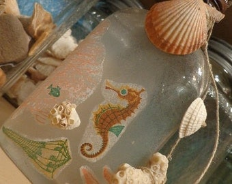 Mid Century Wash- Ashore, A View to the Salty Sea, Vintage Bottle Embellished, Mid Century Ephemera, Fossil Coral Shells Urchin, Add MESSAGE