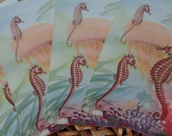 RICH & MELLOW, Seahorse World, Gorgeous under the sea 4 VTG Playing cards, REpurpose for gift tags, placecards, party food markers, Swap