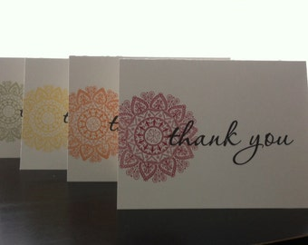Thank You Cards - Medallion (set of 8) - Hand Stamped