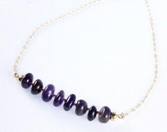 Amethyst Bar Necklace, February Birthstone, Gemstone Necklace, Amethyst Birthstone Jewelry