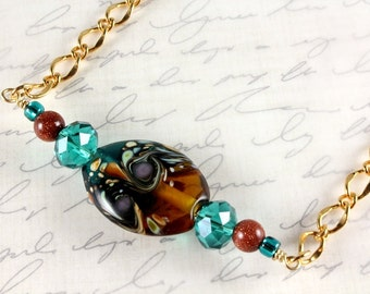 Teal and Brown Lampwork Necklace, Choker necklace, Multicolor, Fall Colors, Gold