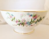 French Limoges Footed Bowl - Bone China Dessert Meadow wild flowers - green pink white blue shower bridal - Bawo Elite Pouyat Dotter