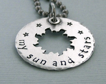 My Sun and Stars - Game of Thrones Jewelry - Hand Stamped Sterling Silver - Stainless Steel Chain
