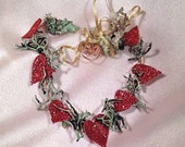 Heart Shaped Lichen Vine of Blood Red Glittered Hearts, Copper Wire and Gold Ribbon