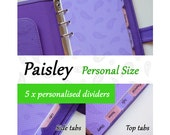 SIZE: PERSONAL  (Regular Set / Top Tabs / Side Tabs)  Paisley Personalised Dividers for Filofax Organizer Planner Agenda