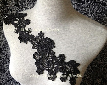 Black Applique - 1 pcs Flower Applique for Altered Couture, Costume Design(A69)