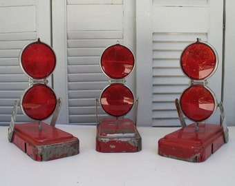Vintage Red Reflector Road Flares