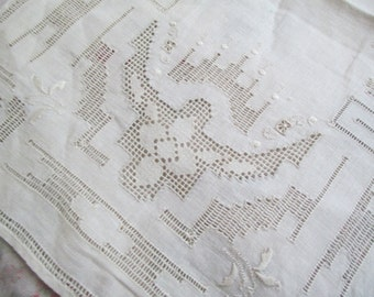 Antique Vintage Linen Embroidered Drawnwork Lace Dresser Linen Doily A58