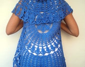Mandala Fashion Shrug   Cotton Blue Vest Woman Hand Crocheted Circle shrug NEW
