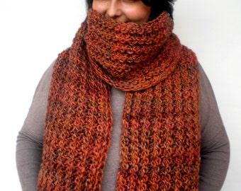 cROSS  Rib Chunky  Scarf Hand Knit Extralong Scarf  Soft   Alpaca Woman/Men Scarf NEW