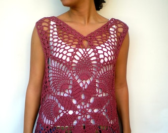 Lace  Flower Top Hand Crocheted   Cotton Woman Top Summer Vest   NEW