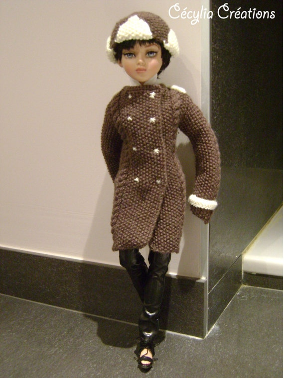 37. French and english knitting pattern PDF - Coat and his shapka for Ellowyne Wilde.