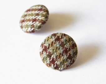 vintage fabric covered earrings