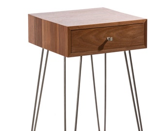 Newton Minimialist Nightstand - Black Walnut Mid Century Industrial Chic Modern Side Table Bedside Table End Table Drawer