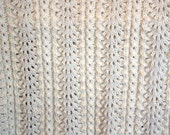 White Merino Wool baby blanket in fan pattern, one of a kind, hand knitted in New Zealand. Newborn, heirloom, christening gift for a baby