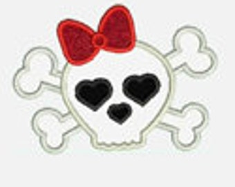 Skull with Bow...Embroidery Applique Design...Three sizes for multiple hoops...Item1570...INSTANT DOWNLOAD
