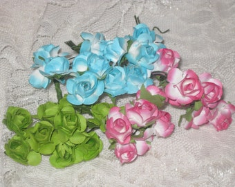 34 Paper Flowers Vintage Style Millinery Mulberry Paper Flowers Assortment ECS