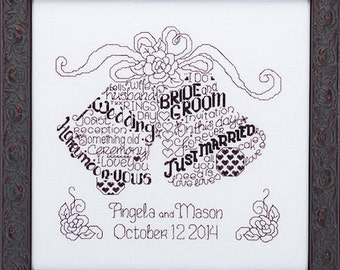 LET'S MARRY - Imaginating Cross Stitch Pattern - Wedding Cross Stitch Pattern Chart - Wedding Bells Counted Cross Stitch