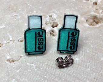 Essie Nail Polish Earrings: Turquoise & Caicos - 1.2 cm Illustrated Hand-Made Stud Earrings