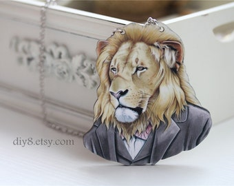 Mr. lion  necklace , Lovely Wood   Necklace,  animal necklace  N18-05