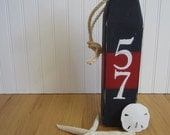 Nautical Wood Buoy Red White Blue House Number address
