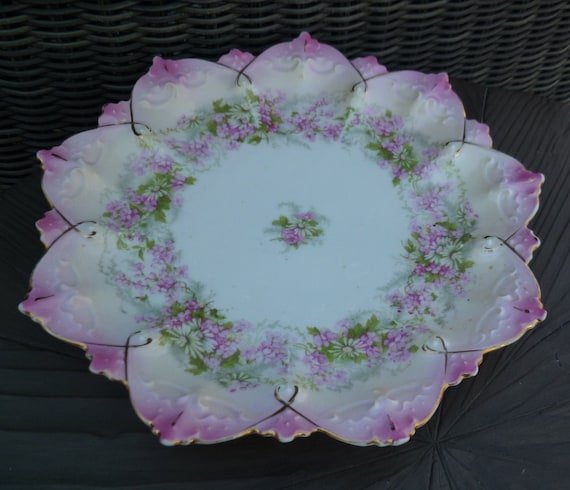 Pink Flowers Scalloped Edge Plate Vintage Antique 1890s Mz