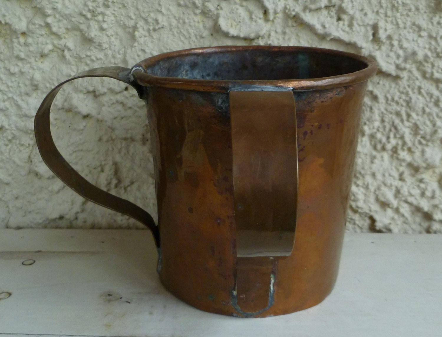 Copper Hand Washing Cup 2 Handles Pass Cup Antique 1800s